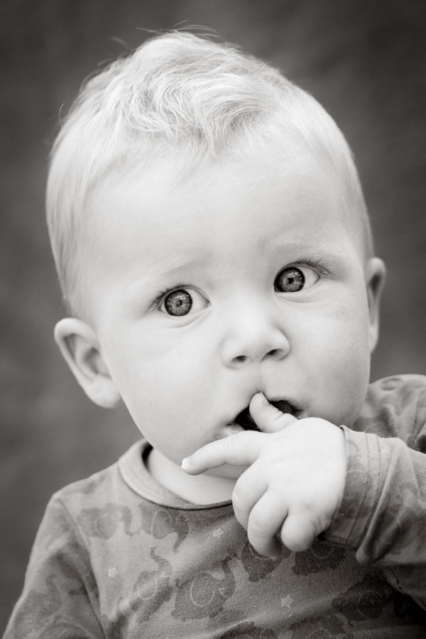 Black and white baby image