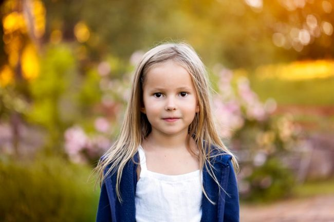Warm coloured portrait of girl outdoor