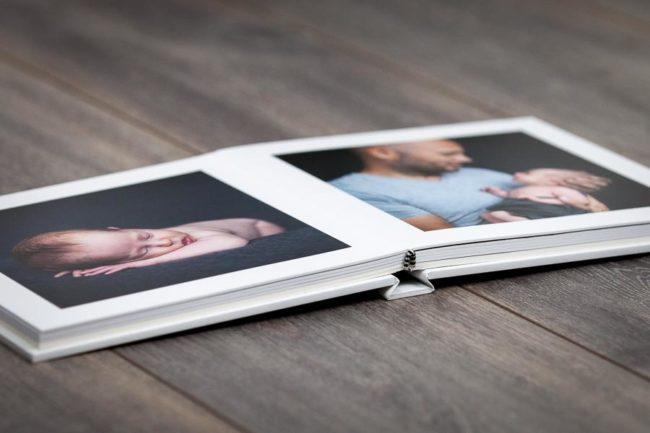 Open flat portrait book