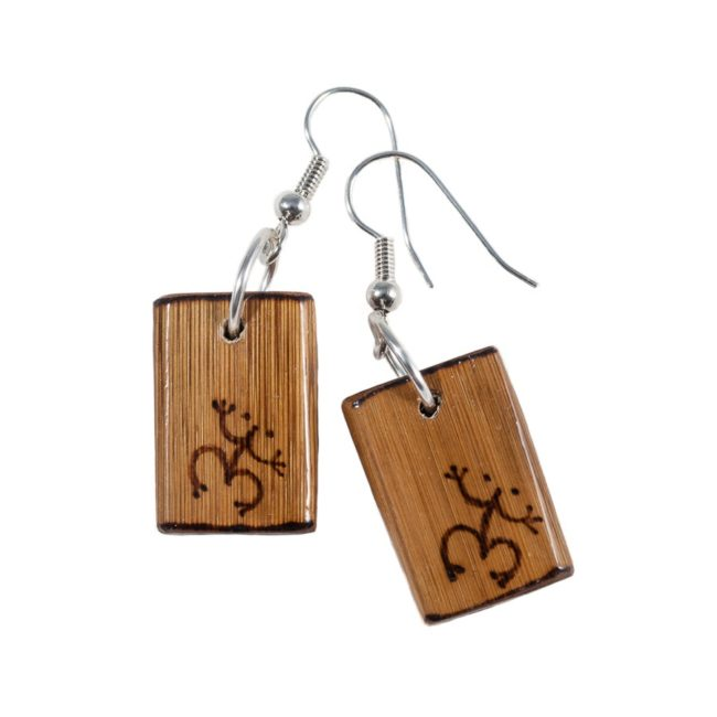 Artisan wooden earrings with frog print
