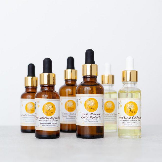 Natural skincare bottles