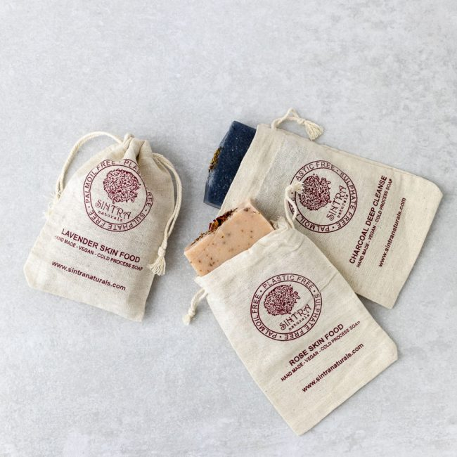Natural soaps in fabric gift bags