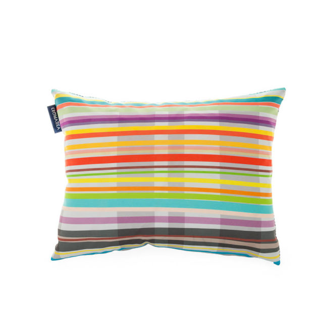 Decorative cushion with colourful striped print
