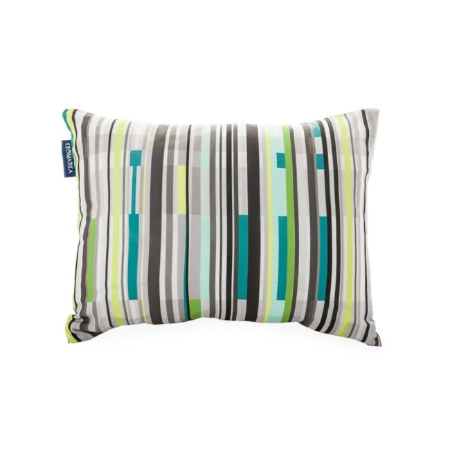 Cushion with green and grey striped print