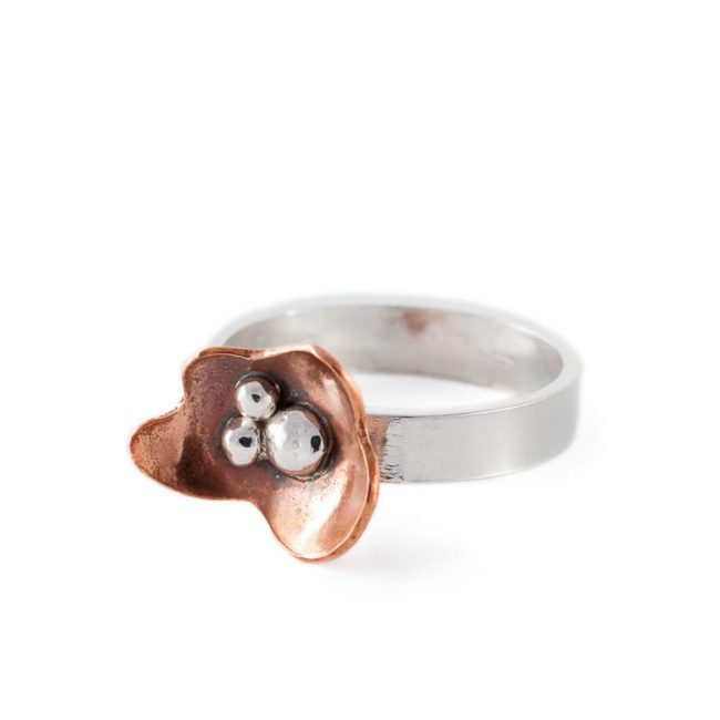 Handmade silver ring with copper flower