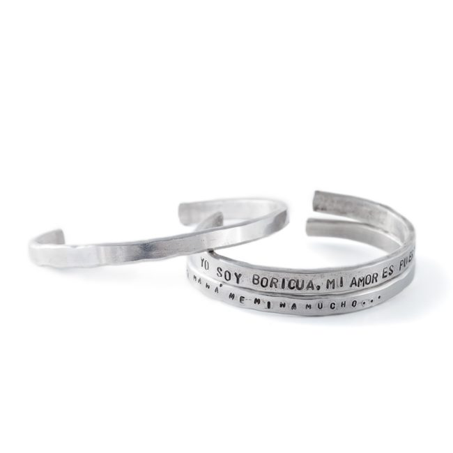 Handmade silver bracelets with stamped text
