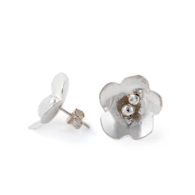 Handmade silver flower earrings