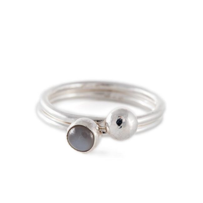 Handmade silver rings with grey stone