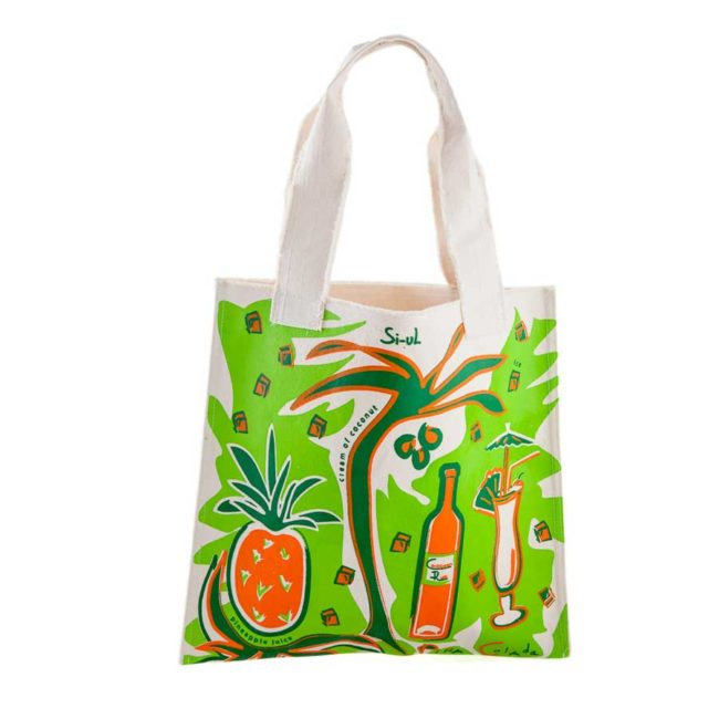 Textile bag with colourful green orange print